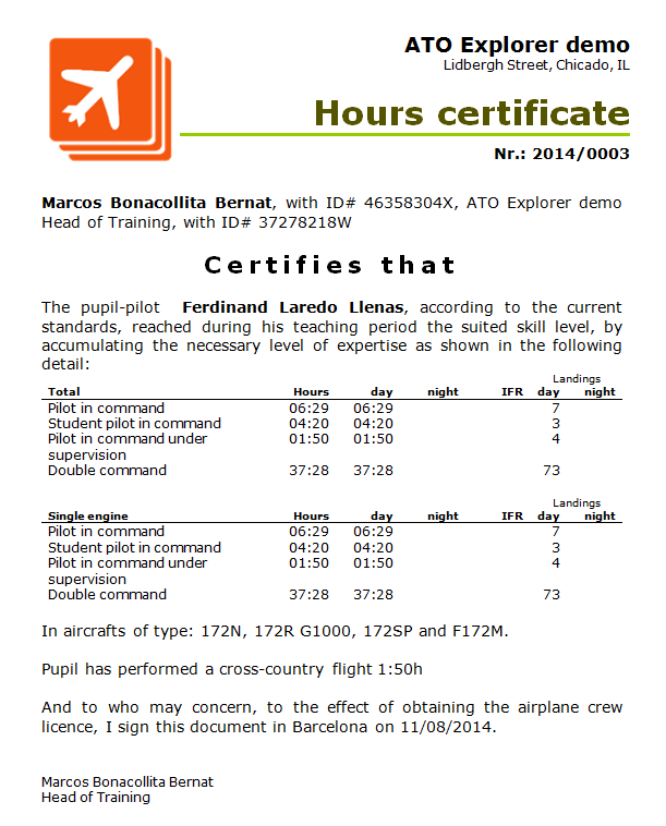 Flown hour certificate
